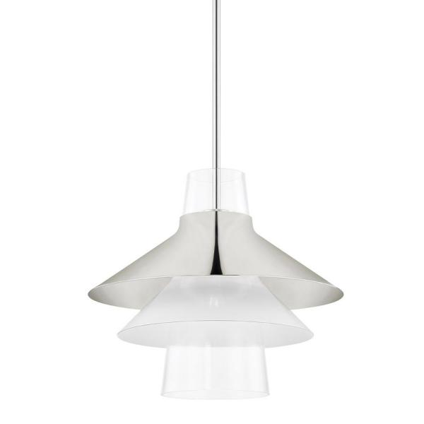 Jessy 1-Light Polished Nickel Large Pendant with Glass Shade