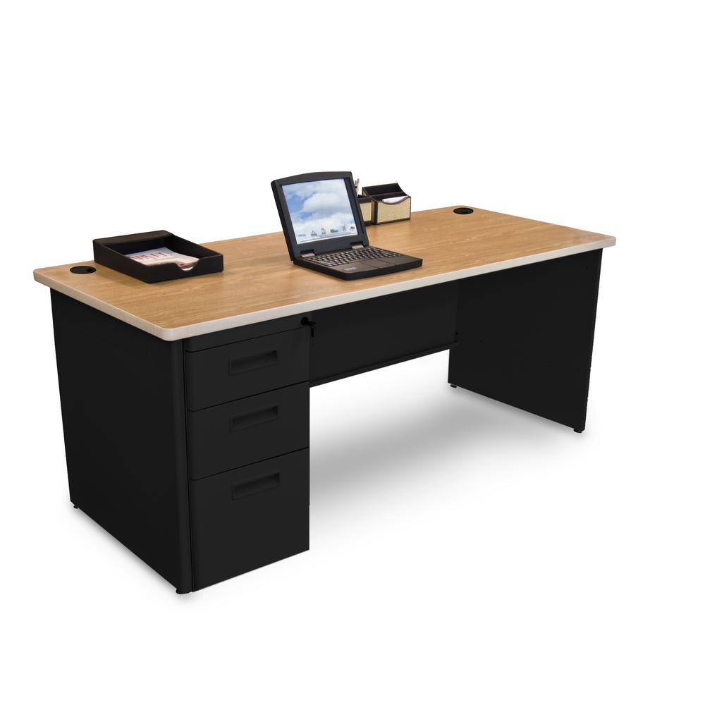 D Oak Laminate And Black Single Full Pedestal Desk Pdr7236sp B Bk Okpu The Home Depot