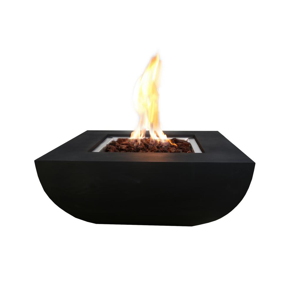 Modeno Aurora 34 in. x 34 in. Grey Square Concrete Propane Fire Pit Table with Electronic Ignition Cover and Lava Rock