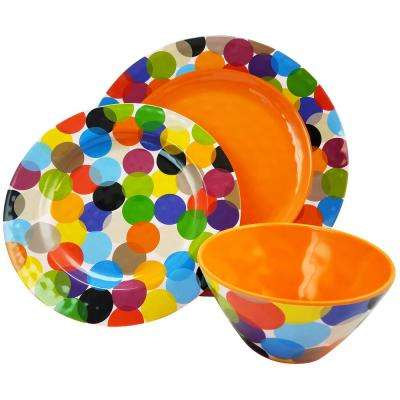 Party Circles 12-Piece Orange Dinnerware Set