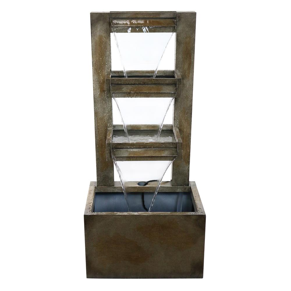 43 in. Tall Metal Tiered Waterfall Fountain
