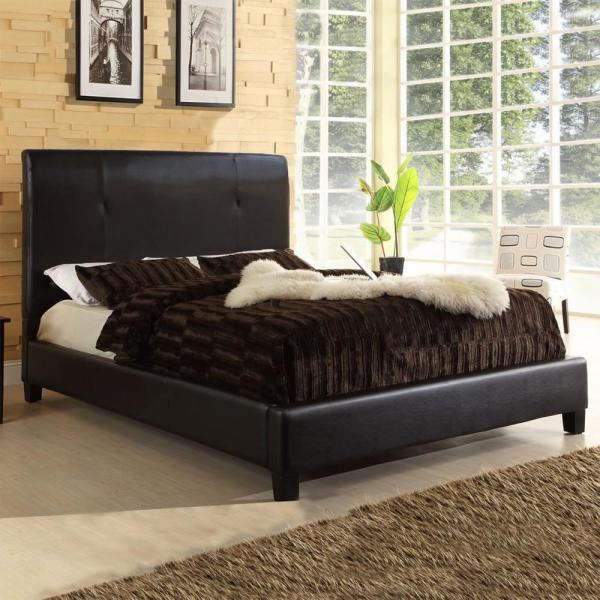 Baxton Studio Cambridge Contemporary Dark Brown Faux Leather Upholstered Queen Size Bed