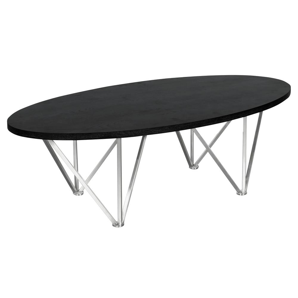 Armen Living Black Ash Wood Top Contemporary Oval Coffee Table in