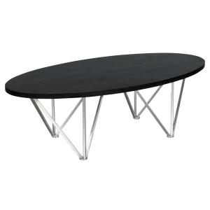 Armen Living Black Ash Wood Top Contemporary Oval Coffee Table In Brushed Stainless Steel