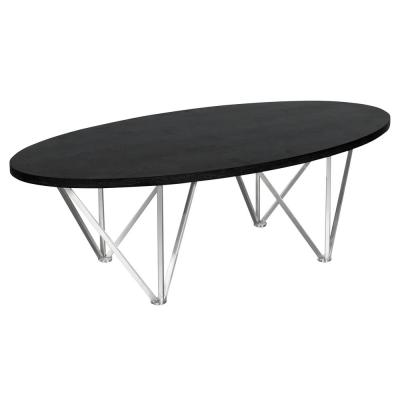 Emerald Armen Living Black Ash Wood Top Contemporary Oval Coffee