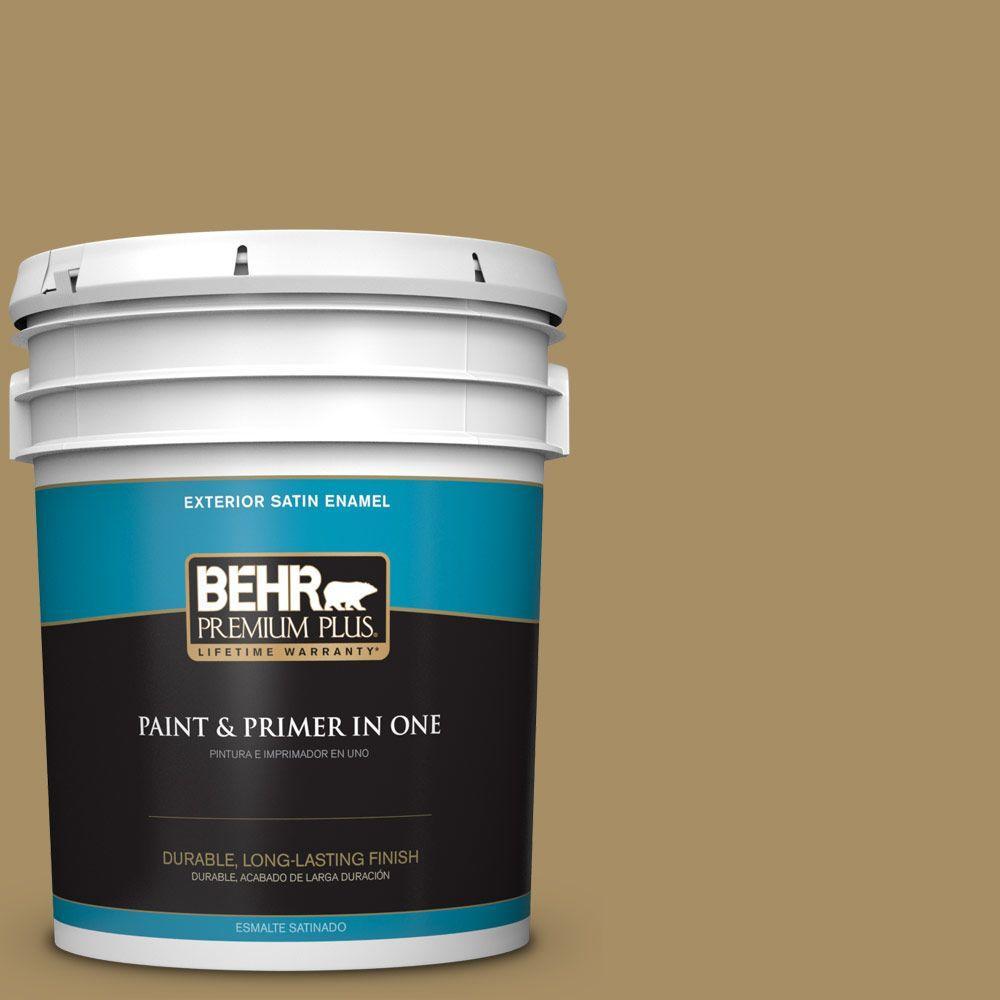 BEHR Premium Plus 5-gal. #350F-6 Fossil Butte Satin Enamel Exterior Paint