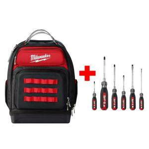 8e4ce2436b Ultimate Jobsite Black 15 in. Backpack with Screwdriver Cushion Grip Set  (6-Piece