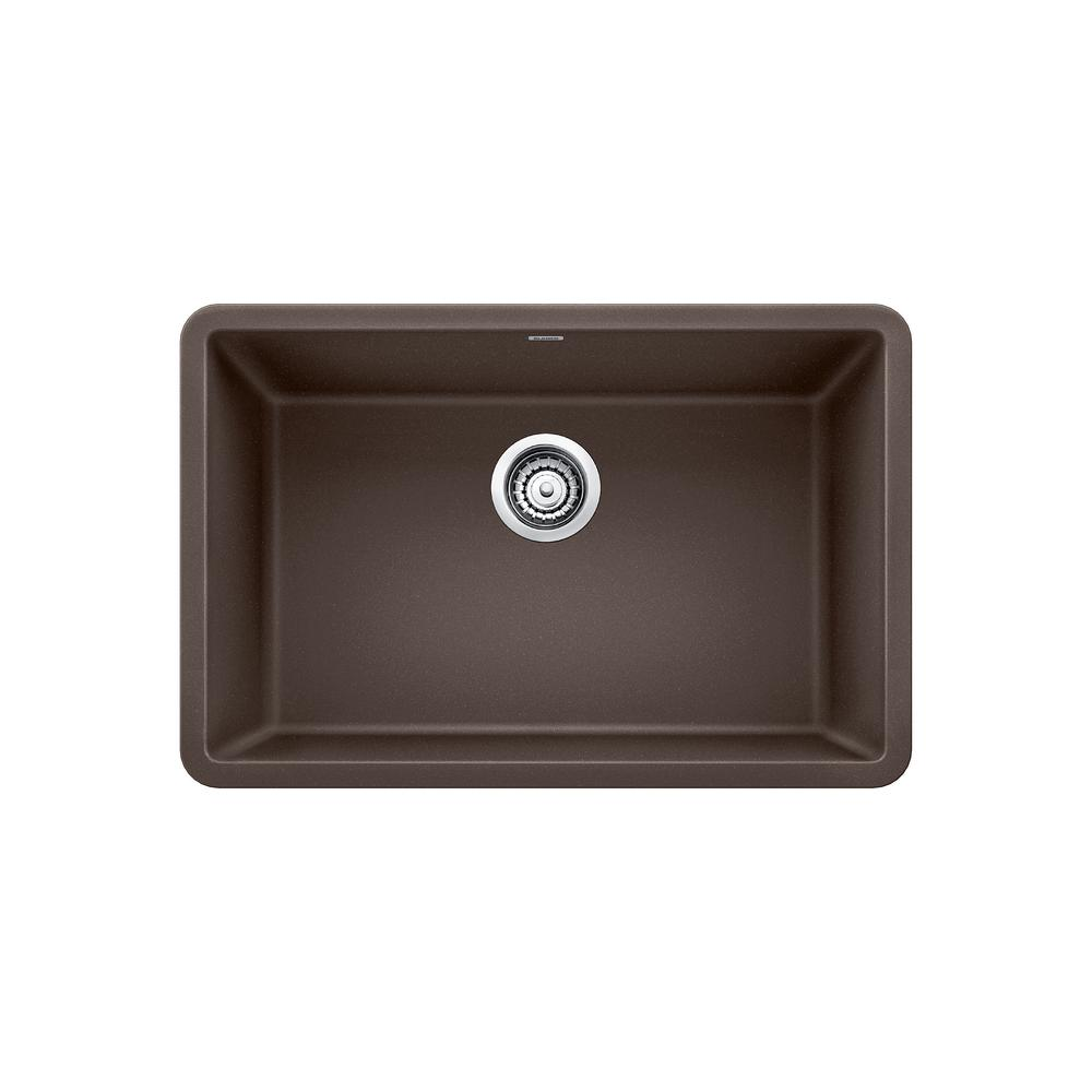 Gentil Blanco PRECIS Undermount Granite Composite 27 In. Single Bowl Kitchen Sink  In Cafe Brown