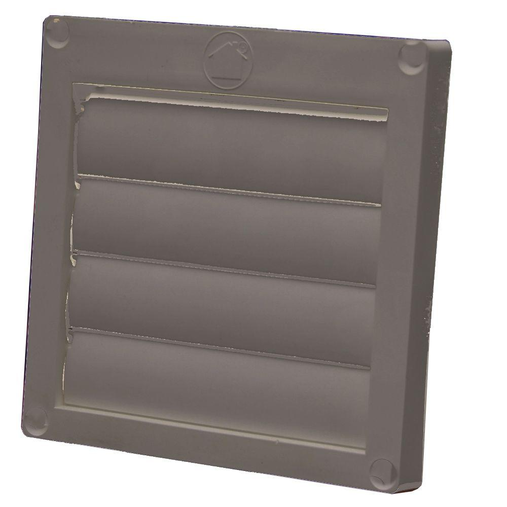 Speedi-Products 4 In. Louvered Plastic Flush Exhaust Hood In Brown Without Tail Pipe-EX-HLFB 04