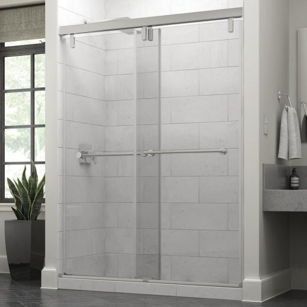 Everly 60 x 71-1/2 in. Frameless Mod Soft-Close Sliding Shower Door in Chrome with 3/8 in. (10mm) Clear Glass