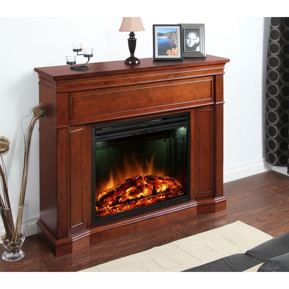 Greenway Arden 48.5 in. Electric Fireplace Mantel in Burnished Cherry