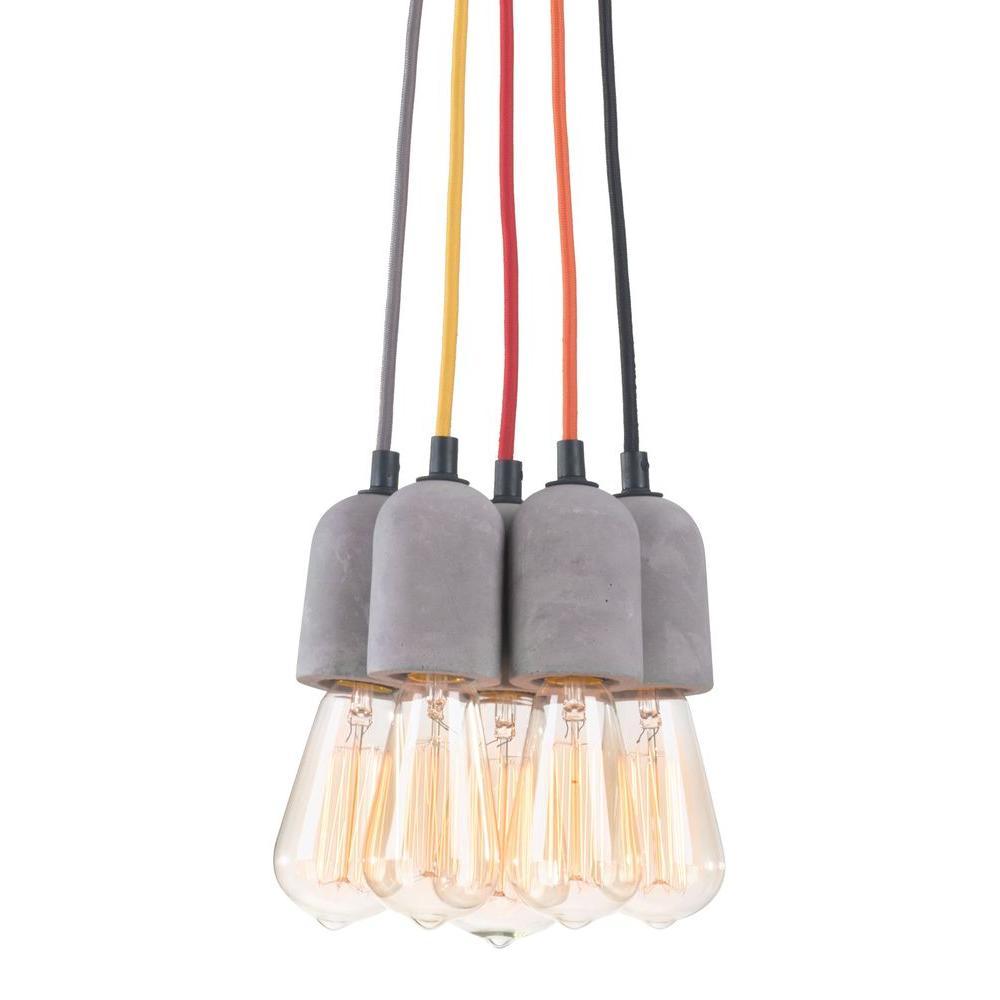 Faith 5-Light Concrete Gray Ceiling Lamp