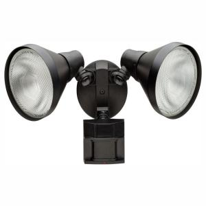Defiant 180 Degree Black Motion Activated Outdoor LED Twin Head Flood Light