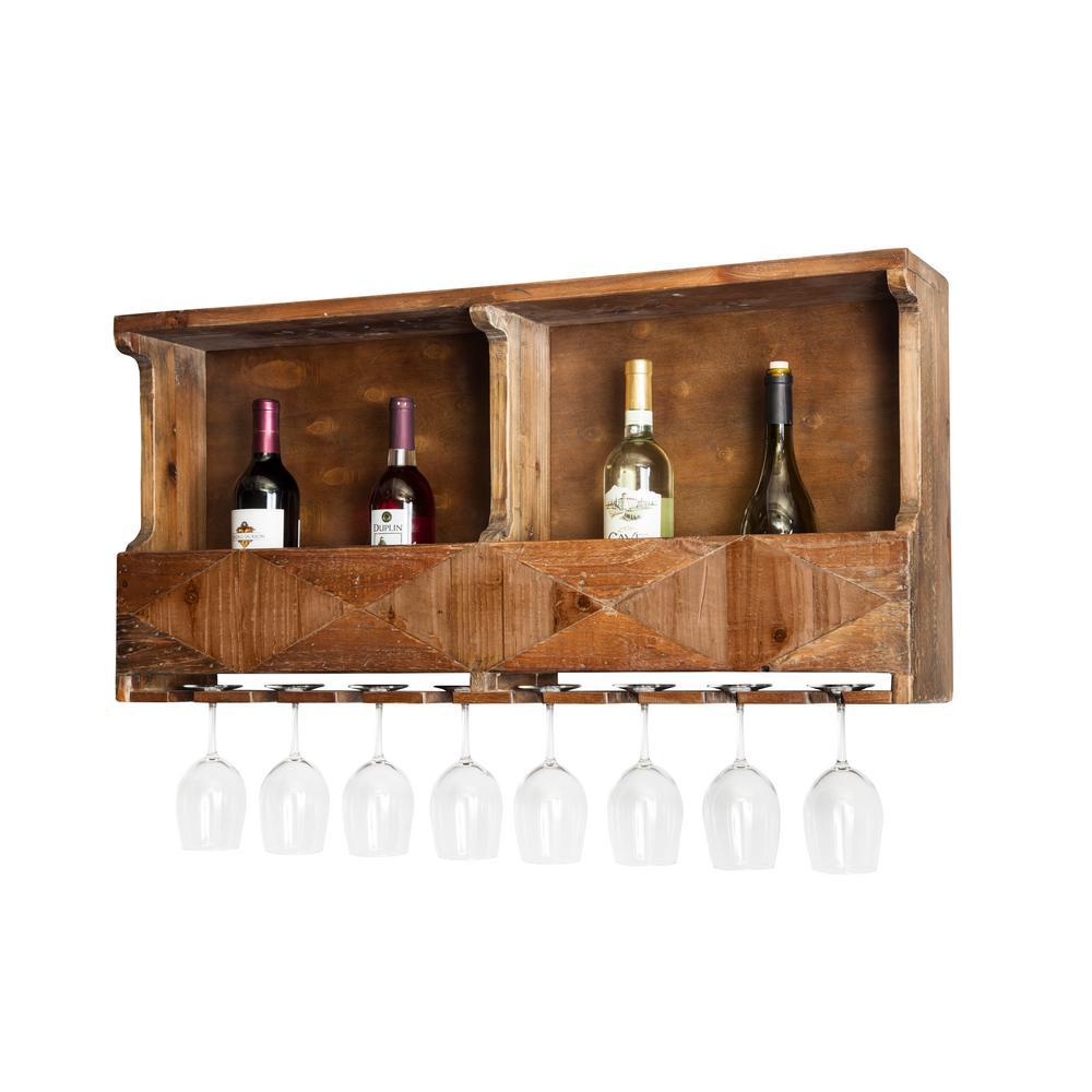 Revive 12-Bottle Brown Reclaimed Wood Wine Rack
