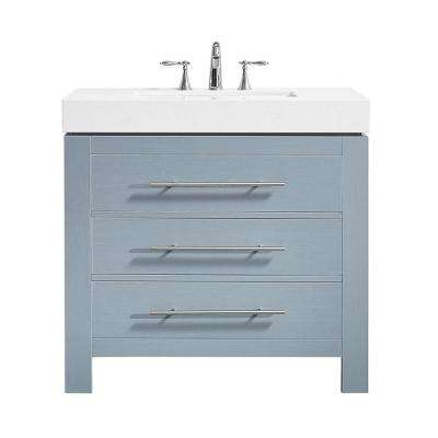 Essex 36 in. W x 22 in. D Bath Vanity in Grey with Quartz Vanity Top in White with White Basin