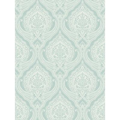 Lace Sky Blue Damask Wallpaper