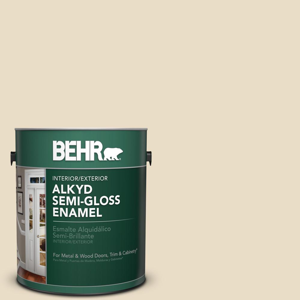 1 gal. #AE-260 Navajo White Semi-Gloss Alkyd Interior/Exterior Paint
