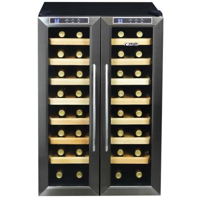 Premium Dual Zone 32-Bottle Freestanding Cellar Thermoelectric Control Refrigerator Wine Cooler - Stainless Steel