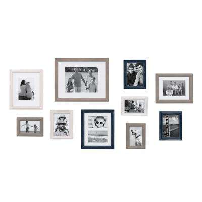 Bordeaux Multicolored Gray, Blue and White Picture Frame (Set of 10)