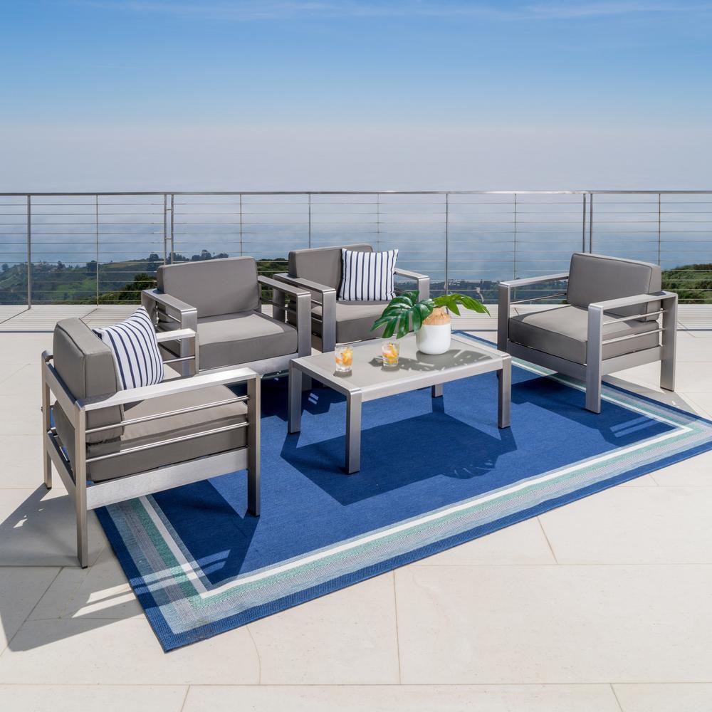 Noble House Cape Coral Sliver 5-Piece Aluminum Patio Conversation Set with Khaki Cushions