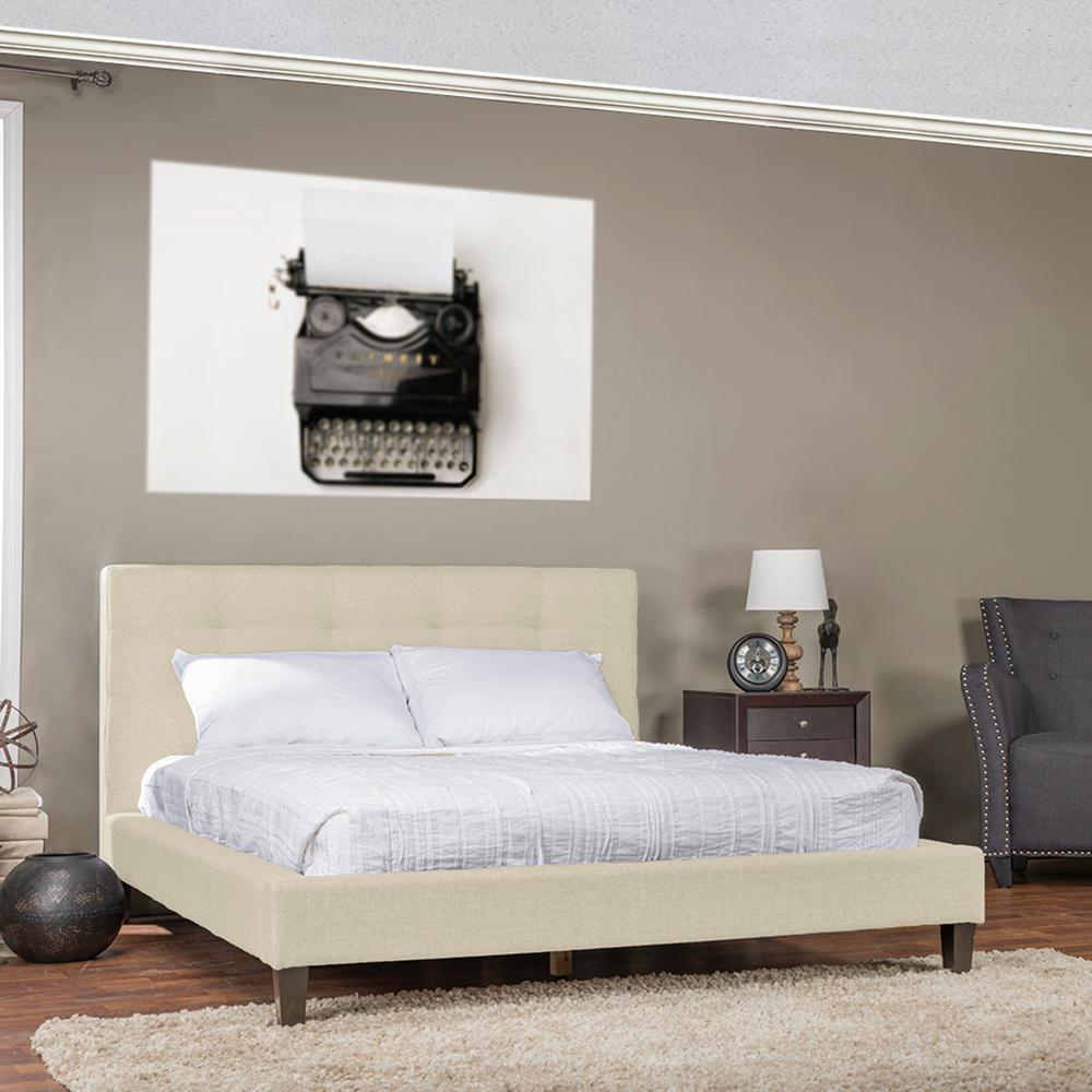 Baxton Studio Ethel Beige Queen Upholstered Bed-28862-6009-HD - The ...
