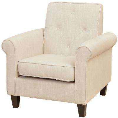 Isaac Beige Fabric Tufted Club Chair