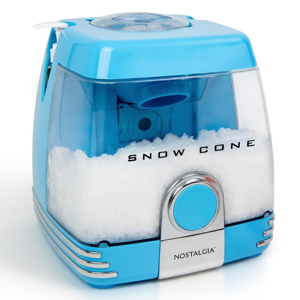 Snow Cone Party Station, Blue This is everything you need to make a variety of delicious and refreshing treats with ease. The stainless-steel cutting blades quickly shave ice to the perfect snow-like consistency. Watch as the ice is stored in the removable snow cone chamber that hold up to thirty 8 oz. snow cones. The drip tray located in the bottom, catches melted ice to keep each scoop perfect. Includes two 4 oz. reusable pump syrup bottles, plastic cups and ice scoop. Color: Blue.