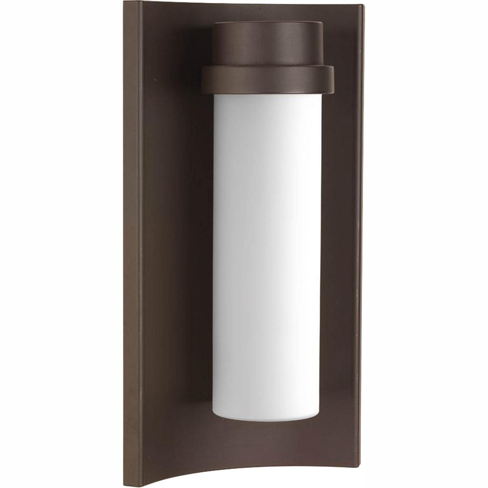 Progress Lighting Z-1020 Collection 9-Watt 13.5 in. Outdoor Architectural Bronze Integrated LED Wall Lantern Sconce