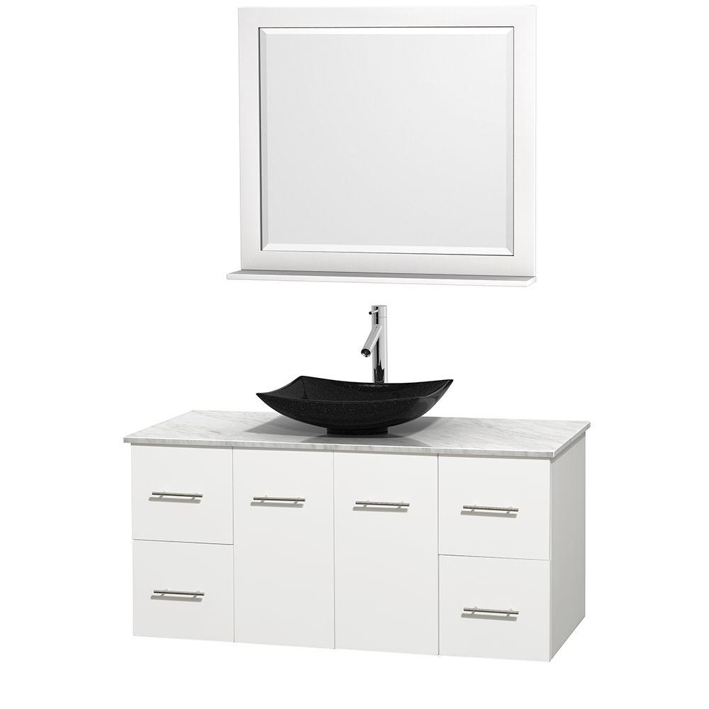 Wyndham Collection Centra 48 in. Vanity in White with ...