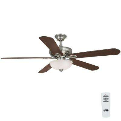 Asbury 60 in. Indoor Brushed Nickel Ceiling Fan with Light Kit and Remote Control