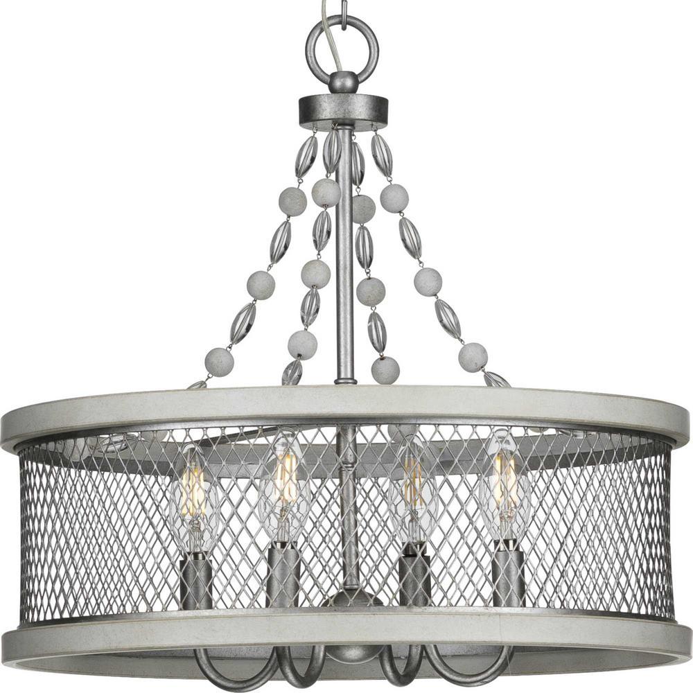 Austelle Collection 4-Light Galvanized Chandelier
