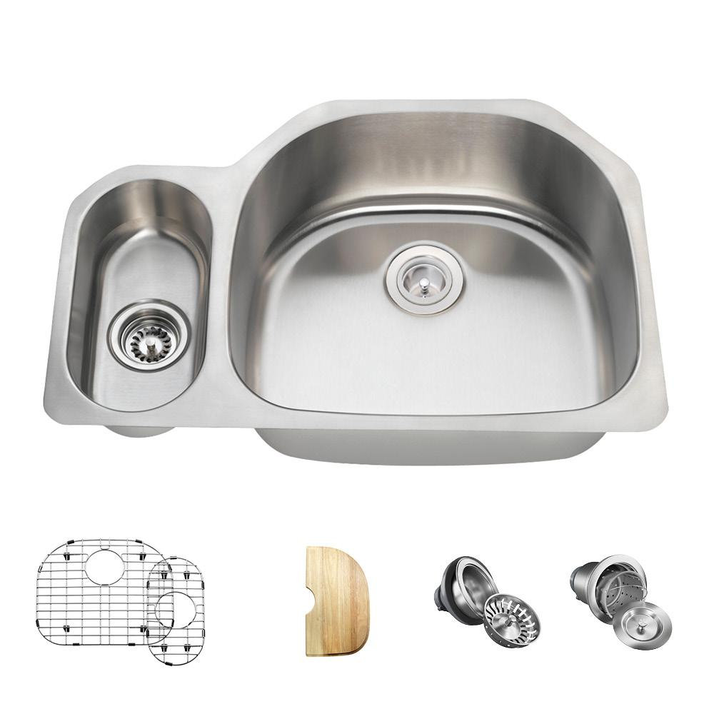 All-in-One Undermount Stainless Steel 32 in. Right Double...