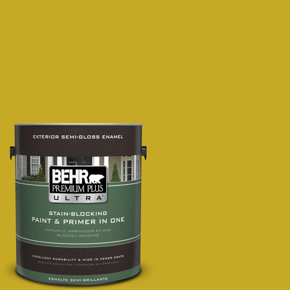 BEHR Premium Plus Ultra Home Decorators Collection 1-gal. #HDC-MD-03 Citronette Semi-Gloss Enamel Exterior Paint
