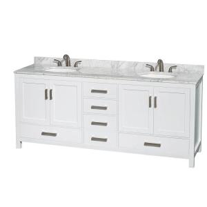 Wyndham Collection Sheffield 80 inch Double Vanity in White with Marble Vanity Top in... by Wyndham Collection