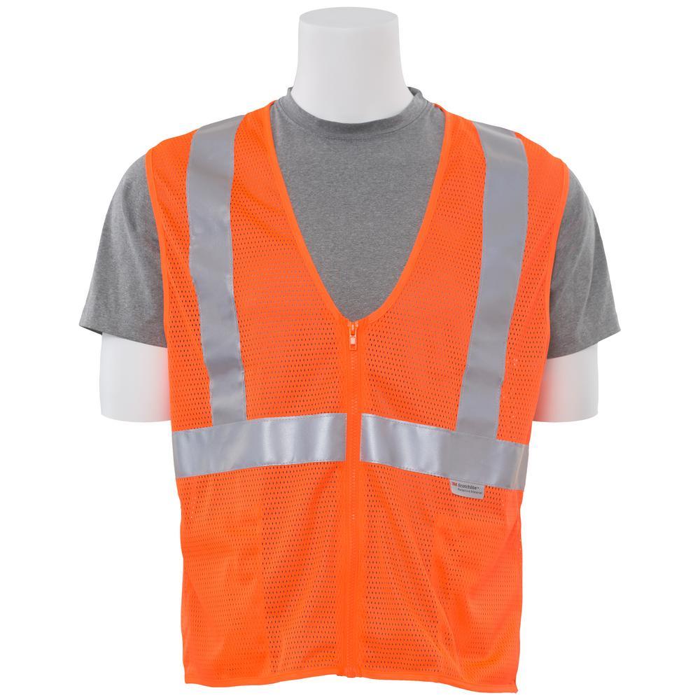 Ergonomics INC S15Z XL Hi Viz Orange Poly Mesh Safety Ves...