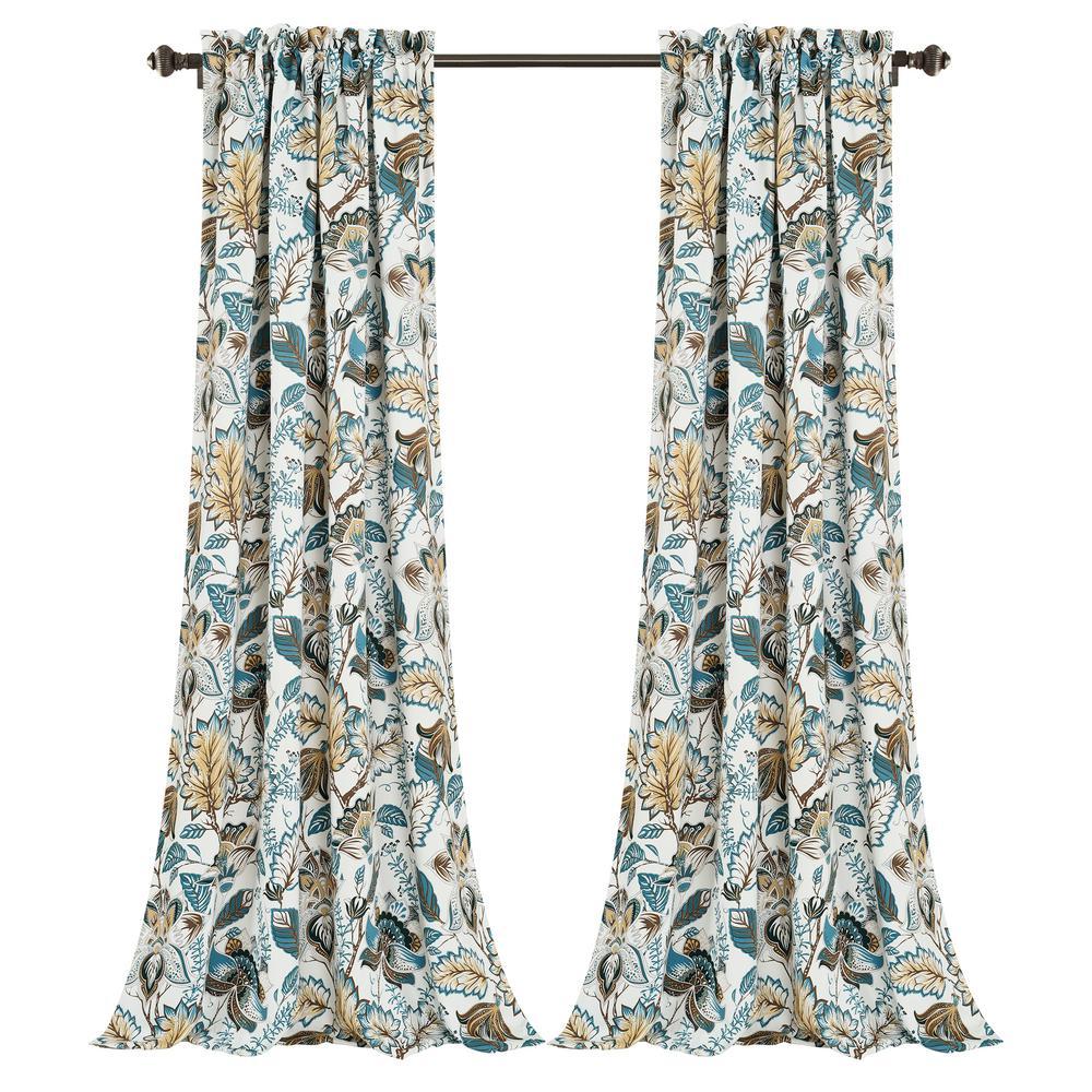 Cynthia Jacobean Room Darkening Window Curtain Panels Turquoise/Neutral 52X84+2 Set