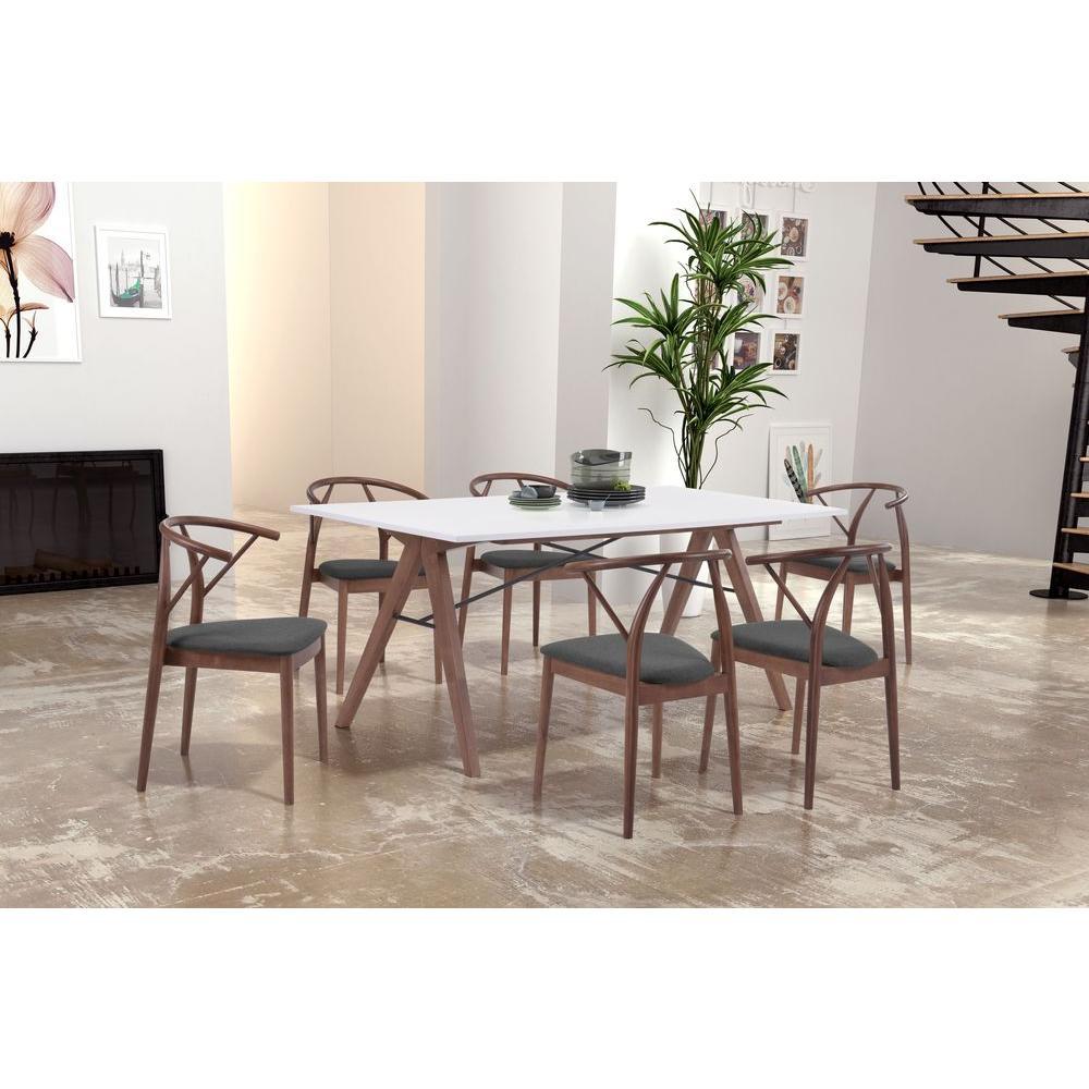 ZUO Saints Walnut And White Dining Table