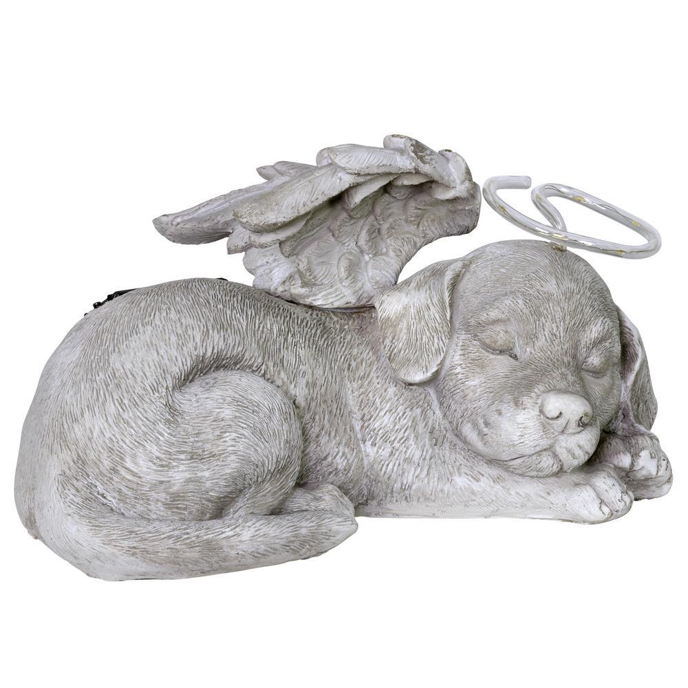 Solar Sleeping Dog Angel Garden Statue