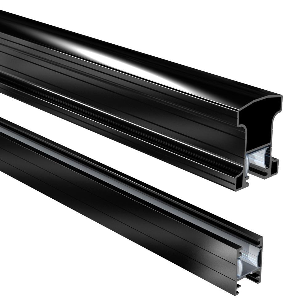 Peak Aluminum Railing 6 ft. Black Aluminum Stair Hand and Base Rail