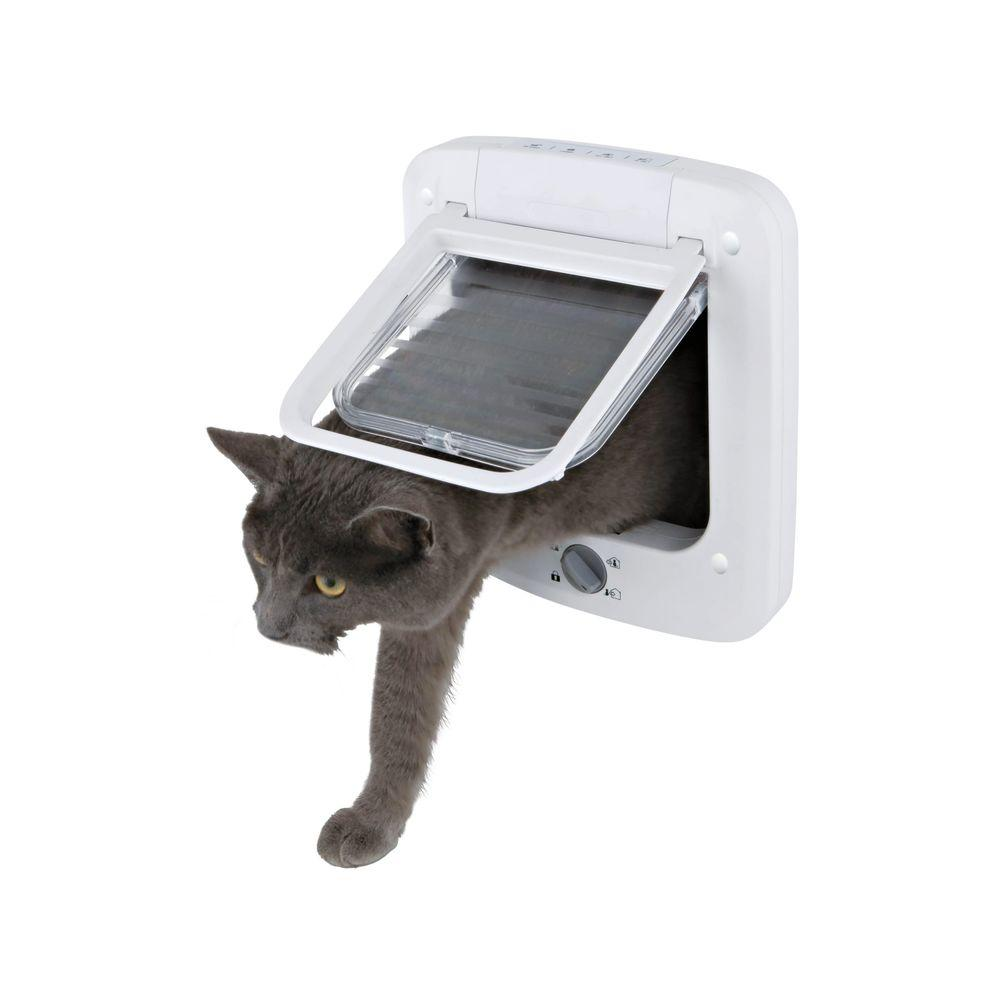 TRIXIE 6 in. x 6.25 in. 4-Way Cat Rotary Lock Cat Door-3850 - The ...