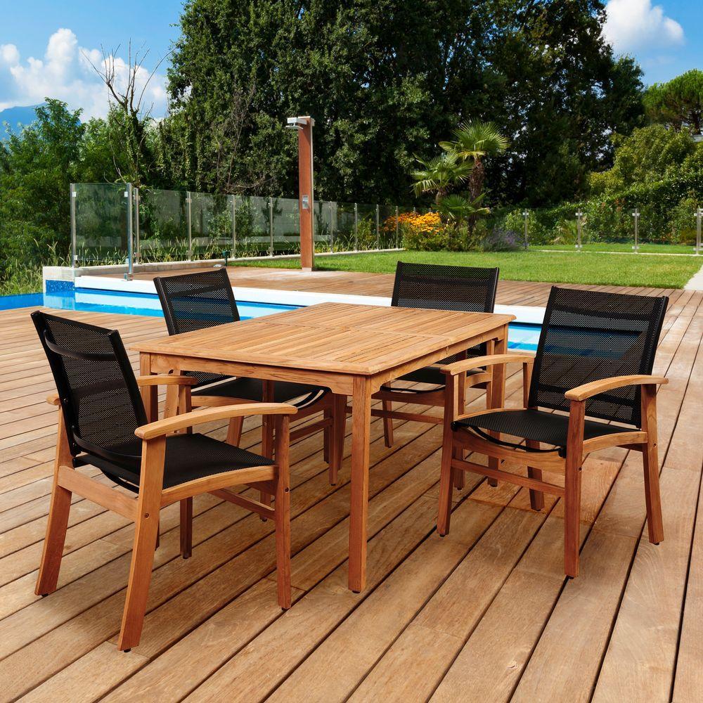 Elliot 5-Piece Teak Rectangular Patio Dining Set with Black Sling Chairs