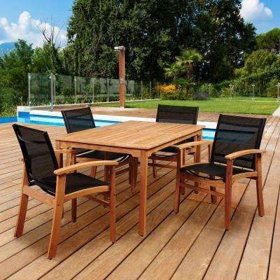 Elliot 5-Piece Teak Rectangular Patio Dining Set with Black Sling Chairs