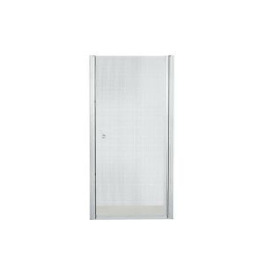 STERLING Finesse 35-1/4 in. x 65-1/2 in. Semi-Frameless Pivot Shower Door in Silver with Handle