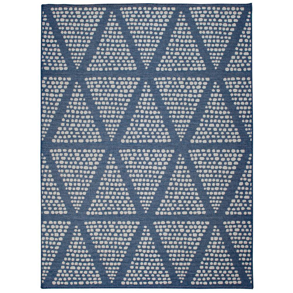 Blue 6 ft. x 9 ft. Geometric Polypropylene Indoor/Outdoor Area Rug