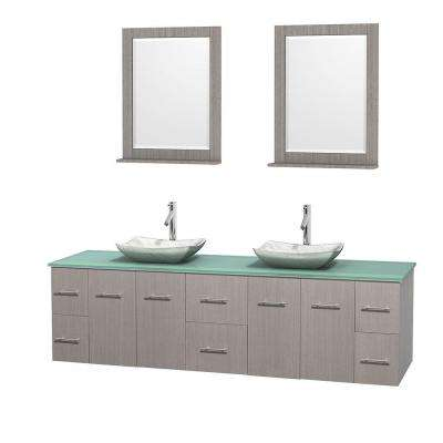 Centra 80 in. Double Vanity in Gray Oak with Glass Vanity Top in Green, Carrera Marble Sinks and 24 in. Mirrors
