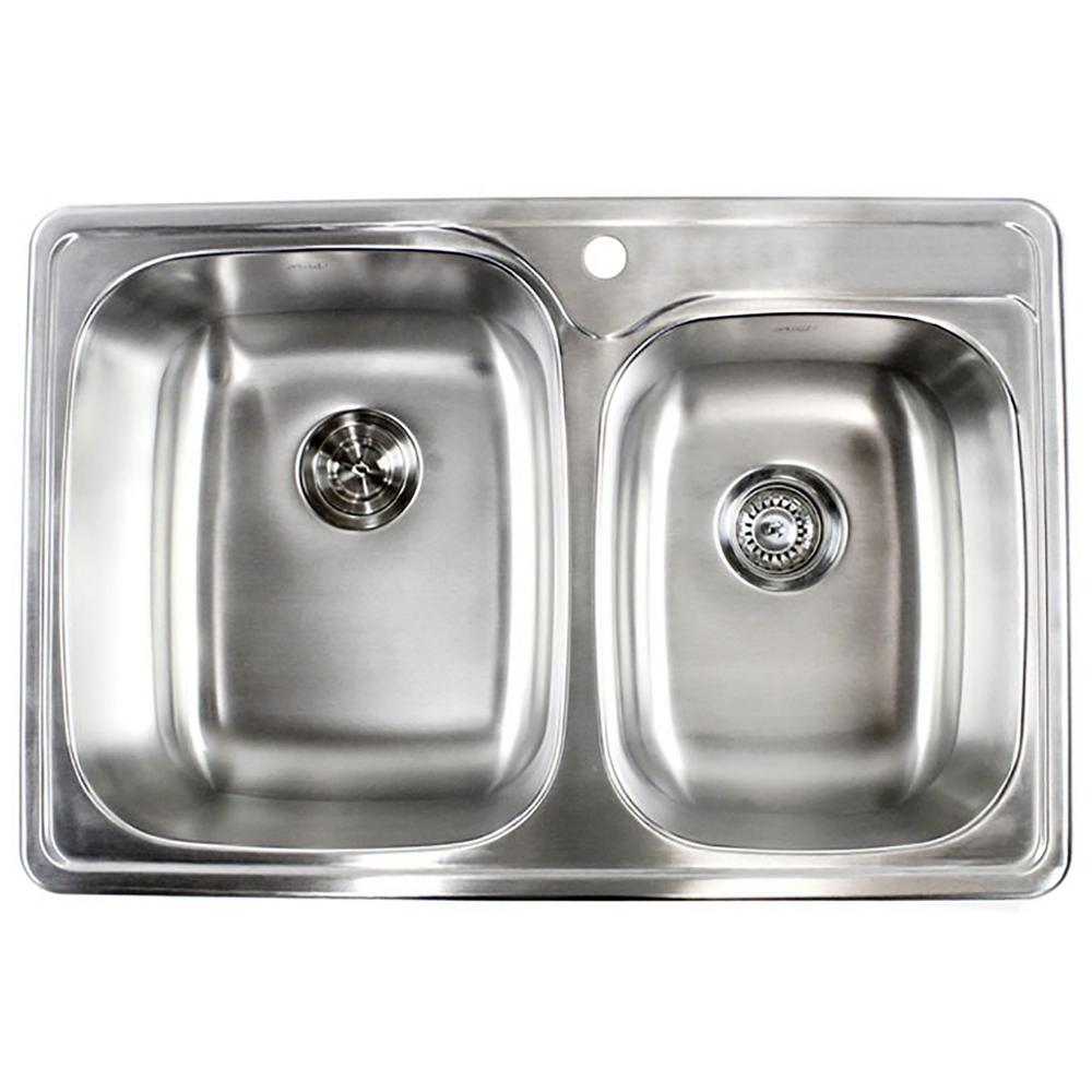 deep stainless steel kitchen sink dual emoderndecor top mount dropin 18gauge stainless steel 33 in 22