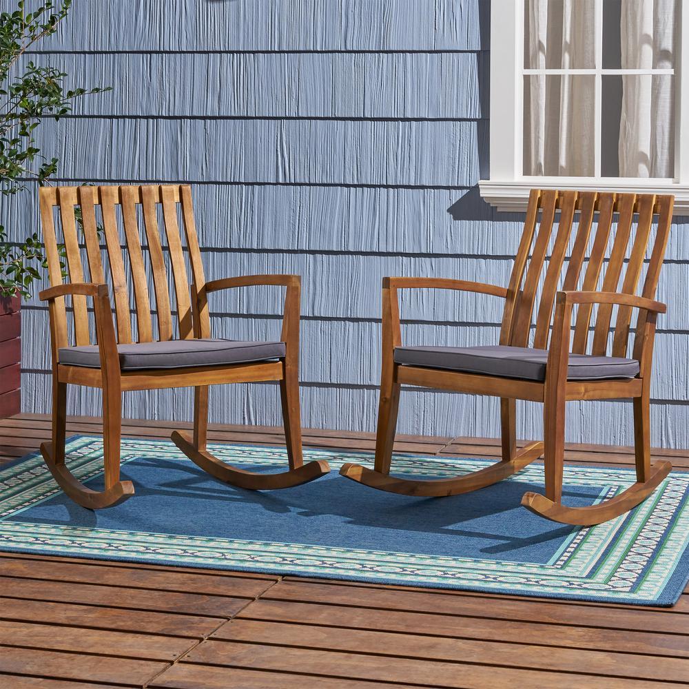 Colmena Teak Brown Acacia Wood Outdoor Rocking Chair with Dark Grey Cushions (2-Pack)