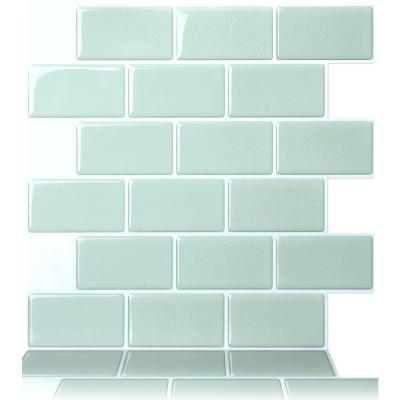 Subway Mist 12 in. W x 12 in. H Peel and Stick Decorative Mosaic Wall Tile Backsplash (10-Tiles)