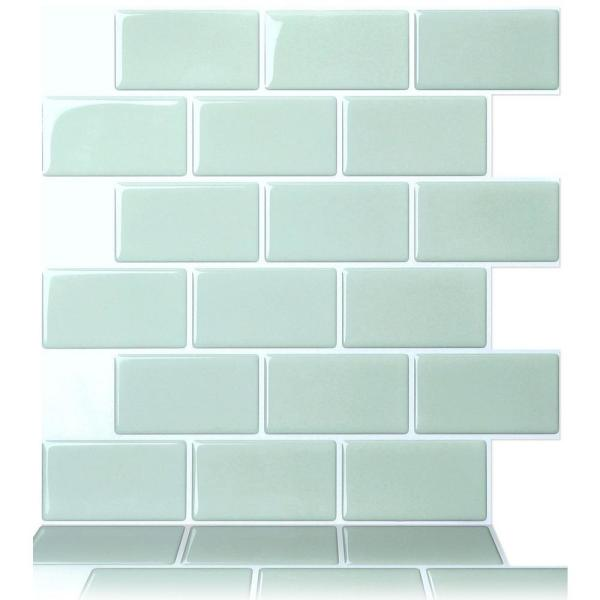 Tic Tac Tiles Subway Mist 12 in. W x 12 in. H Peel and Stick Decorative Mosaic Wall Tile Backsplash (5-Tiles)