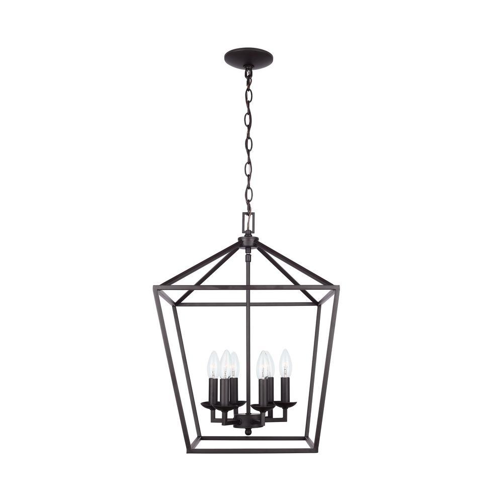 Home Decorators Collection Weyburn 6-Light Bronze Caged Chandelier